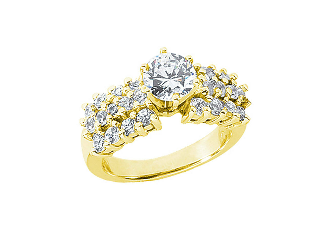 1.25Ct Round Diamond Open Gallery 3Row Bridal Engagement Ring 10k gold GH I1