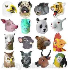 LATEX ANIMAL MASK Full Head Cosplay Fancy Dress Halloween Carnival CHOOSE
