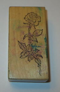 Rose-PSX-Rubber-Stamp-Long-Stemmed-Flower-F-970-Retired-USA-Made-Wood-Mounted