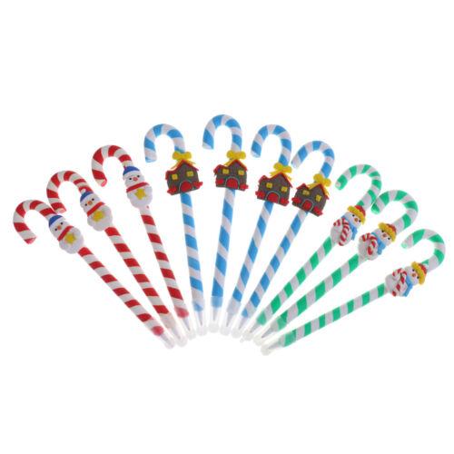 10x Christmas Candy Cane Pen Ballpoint Pen Office School Students Xmas Gift