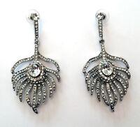 Butler & Wilson Clear Crystal Peacock Feather Earrings