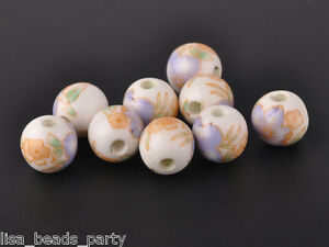10pcs10mm-Round-Porcelain-Ceramic-Loose-Spacer-Beads-Jewelry-Findings-Light-Blue