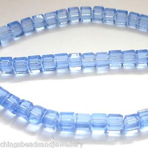 50 Qualité Verre Cristal 4 Mm Cube Perles Bleu-afficher Le Titre D'origine Pfl5i8as-10041456-483832446