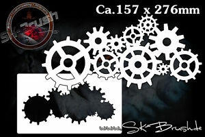 Uhrenwerk-Airbrush-Schablone-Clockwork-Gears-Stencil