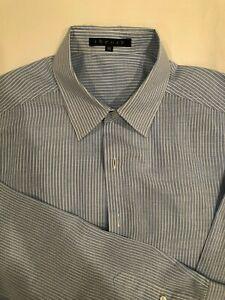 32c07d82ab Theory light blue/white striped men's slim fit cotton/linen dress ...