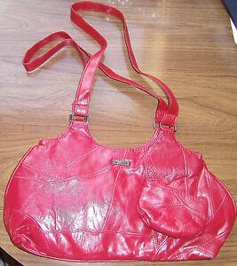 STEFANO Damentasche, Leder, rot mit Etui/Geldbörse, Tasche Handtasche ,