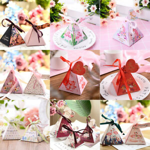 Triangle Pyramid Candy Box Festival Wedding Party Favour Gift Paper Box /& Ribbon