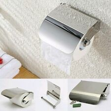 Toilet Tissue Paper Roll Holder / Dispenser with Lid - Stainless steel bathroom
