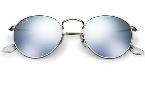 NEW Original RAY-BAN Silver FLASH LENS Round Metal Sunglasses RB ... 1edc8aad7a37