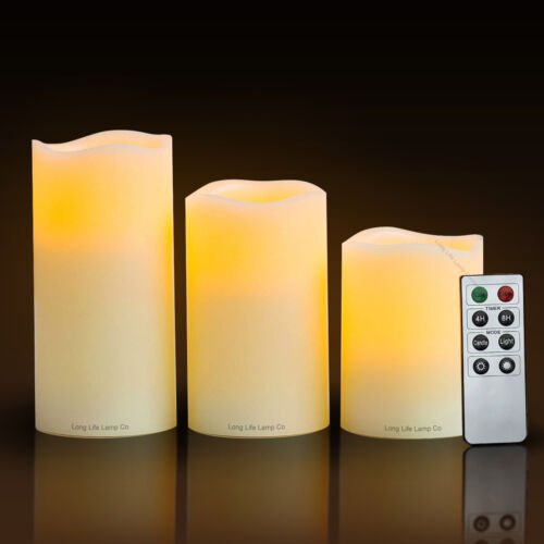 1 of 1 - Set of 3 LED Scented Mood Candles Remote Control Flameless Vanilla Scented Light