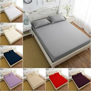 100-EGYPTIAN-COTTON-FITTED-SHEET-200TC-SINGLE-4FT-SMALL-DOUBLE-KING-SUPER-KING