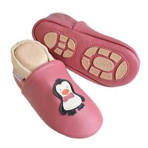 Liya's Krabbelschuhe Hausschuhe Lederpuschen Babyschuhe - #621 Pinguin in Rosé