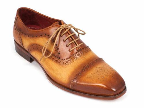 Homme Fait à la main Chaussures Cap Toe Derbies marron clair en cuir formelle porter Bottes Décontractées