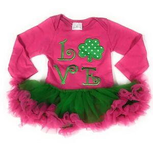 4975c699bbb7 St Patrick s Day Pink Clover Tutu Dress Outfit Newborn Infant Girls ...