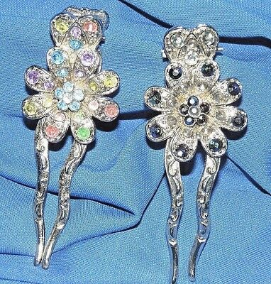 New White//Red Crystal Silver Tone Metal  flowers hair claws clips pins #1659