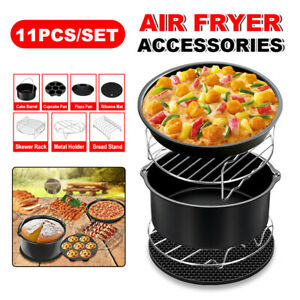 8-034-11Pcs-Air-Fryer-Frying-Cage-Dish-Baking-Pan-Rack-Pizza-Tray-Pot-Accessories