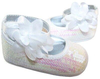 Bebé Niñas Nuevos Blanca Con Lentejuelas suave único pre-walker De Zapatos De Ballet Bautizo Fiesta