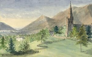 E-E-Cowan-Keswick-Church-amp-Skiddaw-Mountain-1873-watercolour-painting