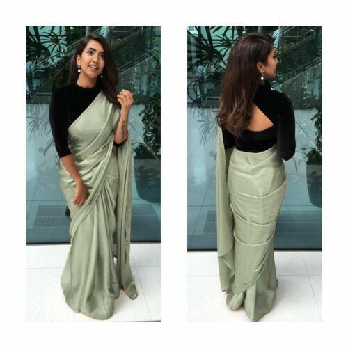 Indian Party Wear Crepe Silk Saree Blouse Plain Simple Ethnic Sari Bollywood PF
