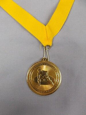 "gold WRESTLING medal wide red neck drape trophy 2 1//2/"" diameter"