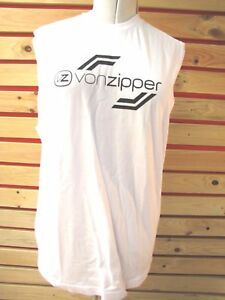 New-VON-ZIPPER-MENS-L-TANK-TOP-Sport-T-Shirt-BOXER-TOP-white-RRP-49-BARGAIN