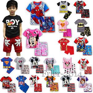 enfants bébé garçon fille Superheros Mickey Mouse haut t-shirt court pantalon