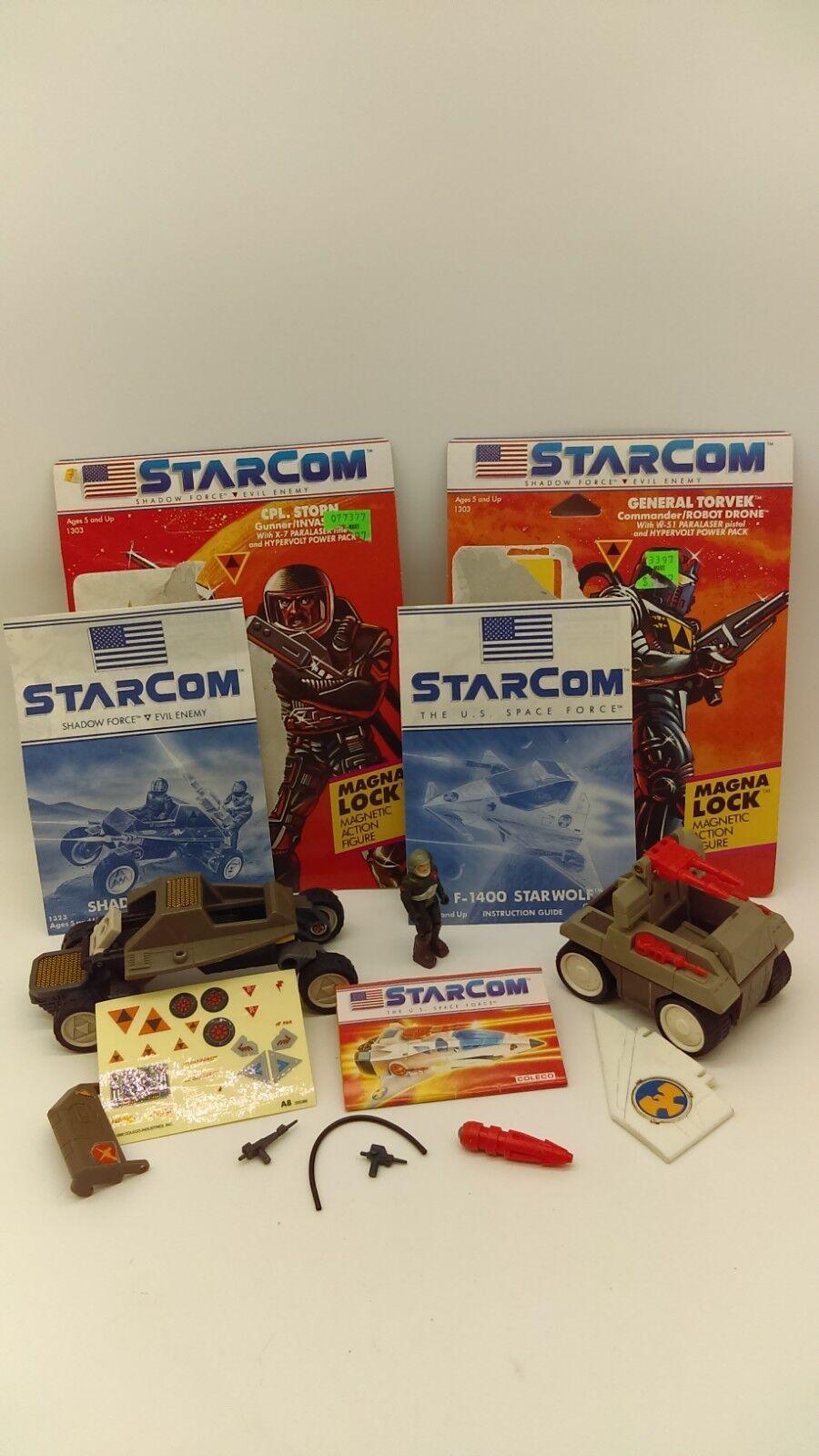 Vintage 1986 Coleco STARCOM Figure Vehicles Paperwork & Accessories LOT