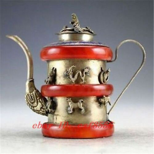CHINESE HANDWORK TIBET-SILVER DRAGON OLD JADE TEA POT
