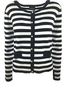 info for 28dbd e2822 Details zu Strickjacke Damen Cardigan gestreift Feinstrick Jacke kurz  Schwarz Creme NEU