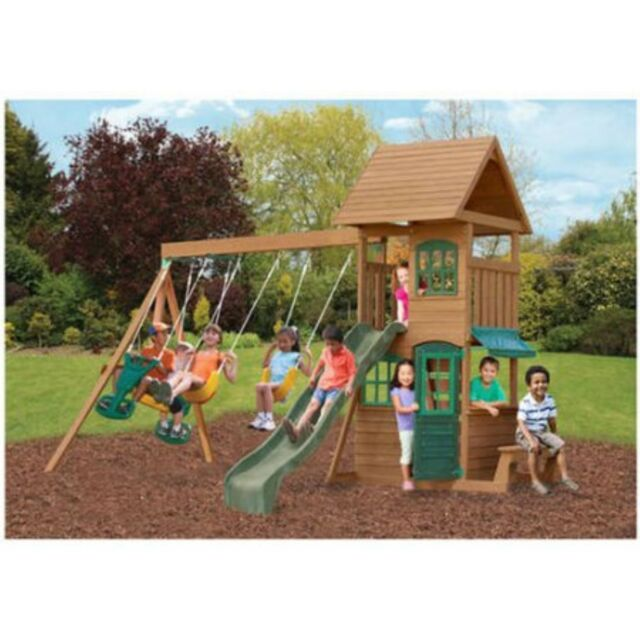 Frequently Bought Together Wooden Cedar Swing Play Set Outdoor