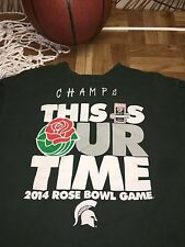 """NEW 2014 ROSE BOWL MICHIGAN STATE """"THIS IS OUR TIME"""" T SHIRT Mens MEDIUM c2"""