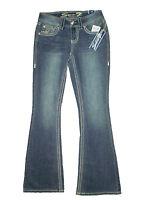 Seven 7 Premium Womens Mid Stretch Flare Denim Blue Jeans Sizes 2 X 33 $69