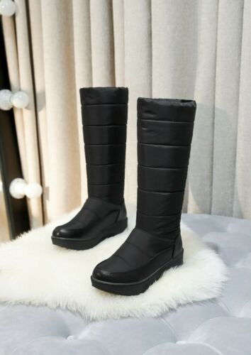 Womens Shoes  Mid High Heel Boots Pull On Winter Snow Boots Hidden Wedge sz2.5-9