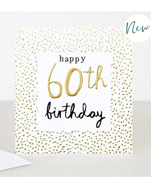 "Caroline Gardner ""happy 60th birthday"" golden dots Greeting Card made in England"