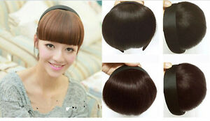 1-Pc-Women-039-s-New-Wig-Flat-Bangs-with-head-band-Hair-Jewelry-Accessories-2-Style