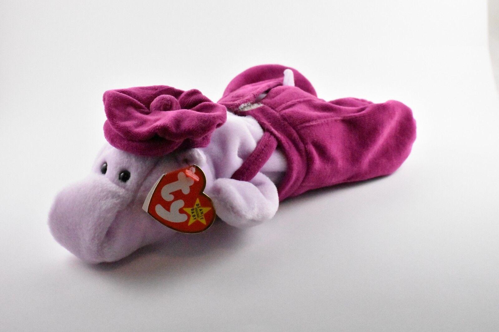 Happy The Hippo Ty Beanie Baby Rare. P.V.C. Pellets. W Teenie Beanie Gently Used