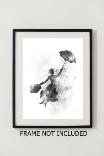 Wall Art B /& W Gift ART PRINT Mary Poppins illustration Disney Julie Andrews
