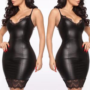 Sexy-Women-039-s-Ladies-Sling-Lace-PU-Leather-Short-Mini-Bodycon-Dress-Clubwear