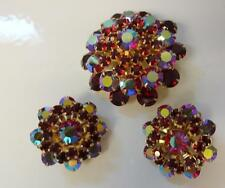 Vintage Signed Weiss AURORA BOREALIS Rhinestone Pin Brooch Earrings Clip On Set