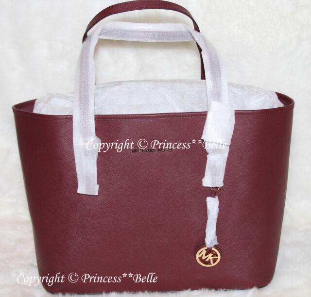 Nwt Michael Kors Jet Set Travel Medium Tote Shoulder Bag Leather Purse Merlot