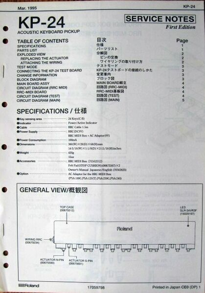 Roland Kp-24 Acoustic Keyboard Pickup Original Service Manual Schematics  Booklet