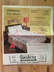 Vintage 1950 S 1960 S Ginsberg Furniture Advertising Sale Paper