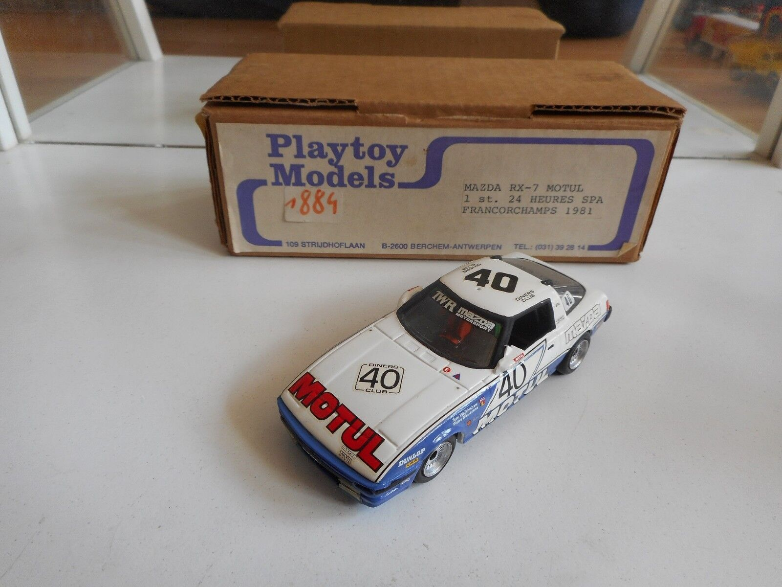 Handbuilt Model Playtoy Mazda RX7 Motul 1st 24 hr Spa 2018 - Blanco on 143 - Box