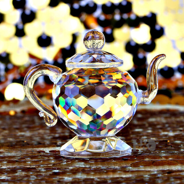 Clear Crystal Glass Teapot Sculpture Figurine Paperweight Home Decor Collectible