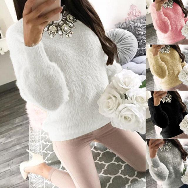 Winter Women's Long Sleeve Fleece Sweater Blouse Sweatshirt Jumper Pullover Tops