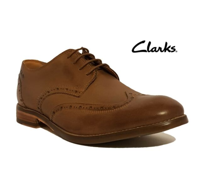 23a12c49f Clarks Mens Smart Exton Brogue Leather Shoes in Tobacco 8 G ...