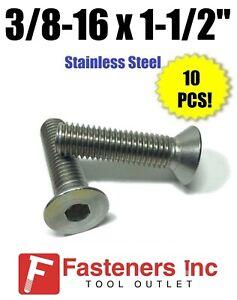 Stainless Steel Flat Head Socket Cap Screw 3/8-16 x 2 10 each Bevestigingen en hulpstukken