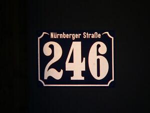 Hausnummer reflektierend 28x20 cm, Wunsch- Ziffern / Straßenname, Aluminium