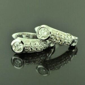 Details About 14k White Gold Diamond Huggie Hoop Earring 1 12ct April Birthstone Pre Owned