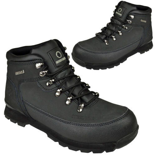 MENS STEEL TOE CAP SAFETY TRAINERS BOOTS LIGHTWEIGHT BOOT SHOES HIKING BLACK NEW